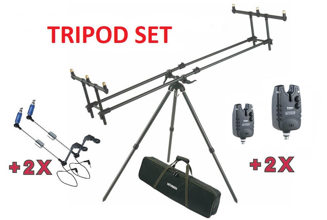 SET = stojan MIVARDI Tripod Premium + 2x signalizátor + 2x swinger