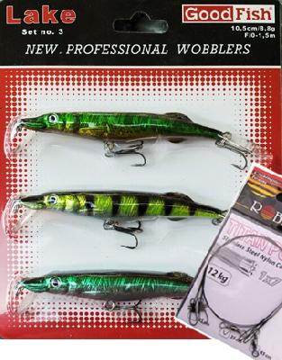 SET = Jazerný set voblerov GoodFish + 2x oceľové lanko ZADARMO