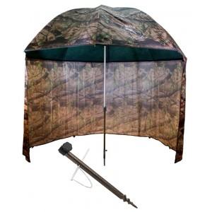 SET = dáždnik DELPHIN PVC Camo s bočnicou + držiak