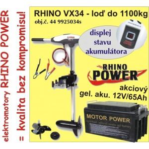 SET = elektromotor RHINO VX + gel. akumulátor 12V/ 65Ah
