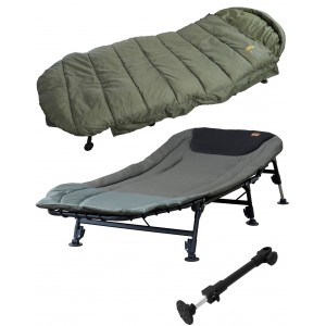 SET = lehátko PROLOGIC Cruzade Bedchair 6legs + spacák Cruzade Sleeping Bag